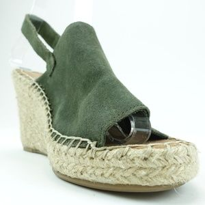 TOMS Women's Size 6 Green Suede Wedge Shoes R2S7